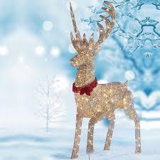 lighted reindeer lighted rattan reindeer outdoor decorating lighted outdoor