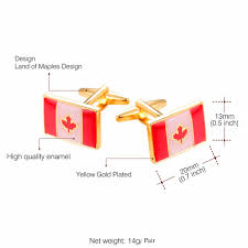 Flag Of Canada Starlord Maple Leaf Cufflinks For Mens Flag Of Canada Gold Color