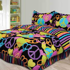 Girls Bedding Sets by Black Peace Sign Full Size Comforter Teen Bedding Set New In