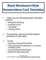 blank montessori style 3 part nomenclature cards template by