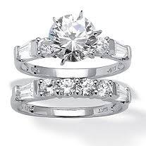 White Gold Cz Wedding Rings by 2 Piece 2 52 Tcw Princess Cut Cubic Zirconia Bridal Ring Set In