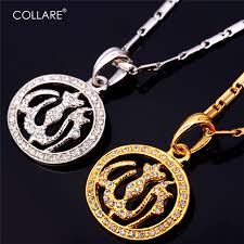 color rhinestone necklace images Collare crystal allah necklace women men jewelry gold silver color jpg