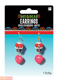 halloween earrings ladies mens day of the dead halloween mexican fancy dress costume