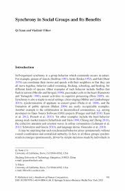 synchrony in social groups and its benefits springer