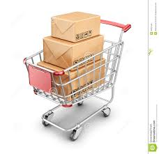 box cart market shopping cart with cardboard box 3d icon stock