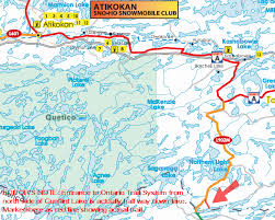 grand map lodging snowmobiling ontario atikokan snowmobile trails maps lodging trail