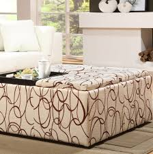 furniture wide square beige patterned upholstered ottoman coffee