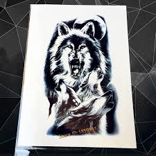 disposable flash temporary sticker large roaring wolf