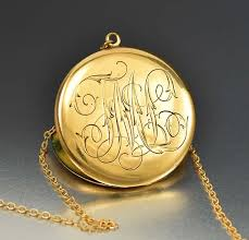 large locket necklace images Large edwardian engraved gold locket necklace c 1908 boylerpf jpg