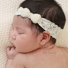 lace headbands 1pcs newborn pearl bow with lace headbands for