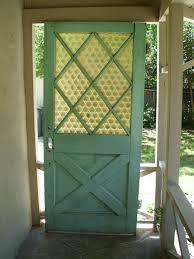 Antique Exterior Door Vintage Exterior Front House Door Green Solid Wood Glass