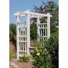 dura trel courtyard 6 5 ft vinyl pergola arbor with gate hayneedle