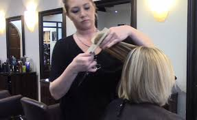 layered buzzed bob hair makeover from long hair to a neck length layerd bob video