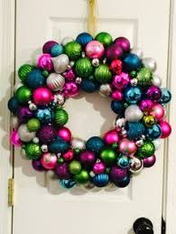 teal pink purple green silver ornament wreath