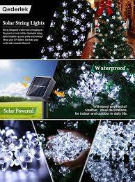 Solar Outdoor Christmas Tree Lights by Qedertek Solar Christmas String Lights 21ft 50 Led Fairy Blossom