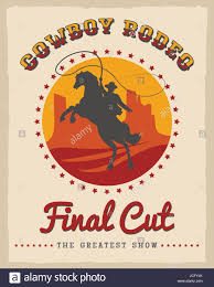 cowboy rodeo poster vector illustration american country style