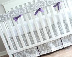 Lilac Damask Crib Bedding Damask Crib Bedding Etsy