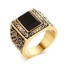 fashion golden rings images Heyrock fashion golden men engagement rings stainless steel black jpg