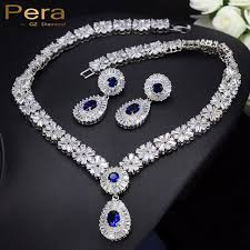 wedding gift jewellery pera luxurious bridal wedding gift jewelry set blue and white