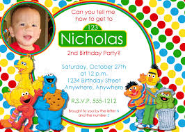 Birthday Invitation Card Maker Sesame Street Birthday Invitations Kawaiitheo Com