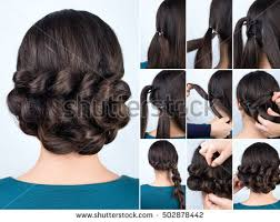hair tutorial hair tutorial hairstyle volume braids tutorial stock photo