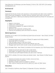 Plant Supervisor Resume Professional Plant Nursery Worker Templates To Showcase Your
