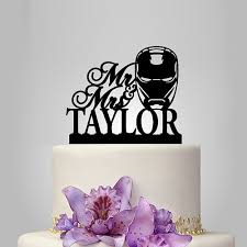iron cake topper ironman wedding cake topper with custom name wedding silhouette