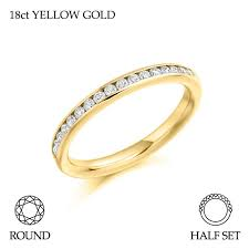 gold eternity ring 18ct yellow gold half set brilliant cut diamond