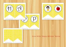 snow white banner snow white happy birthday pennant banner
