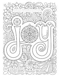 joy intricate hand drawn coloring illustration black