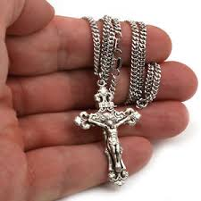 crucifix pendant necklace images Bliss men 39 s sterling silver crucifix pendant catholic necklace on jpg