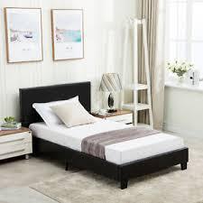 Upholstered Headboard Bed Frame Size Bed Frame Platform Slats Faux Leather Upholstered