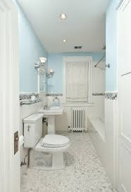 clean white grey bathroom with tile border home design examples