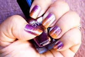 easy fall gradient nail art glittery ombre nails purple