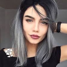 black at root of hair long bob black root ombre gray wig heat resistant natural non lace