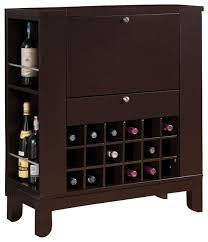 dark brown fold down front shelves wine rack wooden bar cabinet