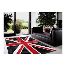 patchwork carpet rug leather union jack red handmade by furhome
