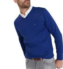 siege hilfiger hilfiger pull droit en coton pima et cachemire col v bleu