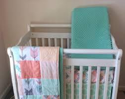 Mini Crib Bedding Mini Crib Bedding Set In Mint Coral And Gray Tribal