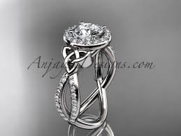 celtic engagement rings 14kt white gold diamond celtic ring triquetra ring