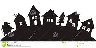 House Silhouette by Village Black Silhouette Stock Vector Image 46154606