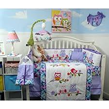 Nursery Bed Set Soho Lavender Owls Baby Crib Nursery Bedding