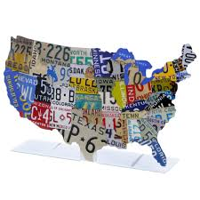 Travel Decor by Usa Map License Plate Style Tabletop Sign Automotive Travel Decor