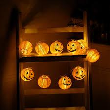 10 leds halloween pumpkin string lights orange paper holiday fairy
