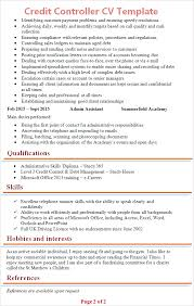 Controller Resume Example by Credit Controller Cv Template Tips And Download Cv Plaza