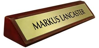 gold name tag rosewood piano finish desk name plate metal brushed gold plate