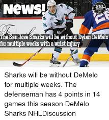 San Jose Sharks Meme - newsi nhl the san jose sharks will be without dylan demelo for