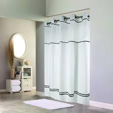 Stripe Shower Curtains Hookless Hbh40mys0110sl77 White With Black Stripe Escape Shower
