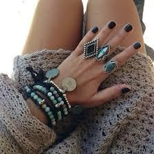 beaded ring bracelet images Jewels ring big rings boho ring turquoise teal bracelets jpg
