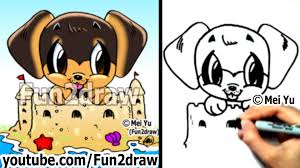 easy things to draw cute animals drawing tutorial arctic fox 2 dog